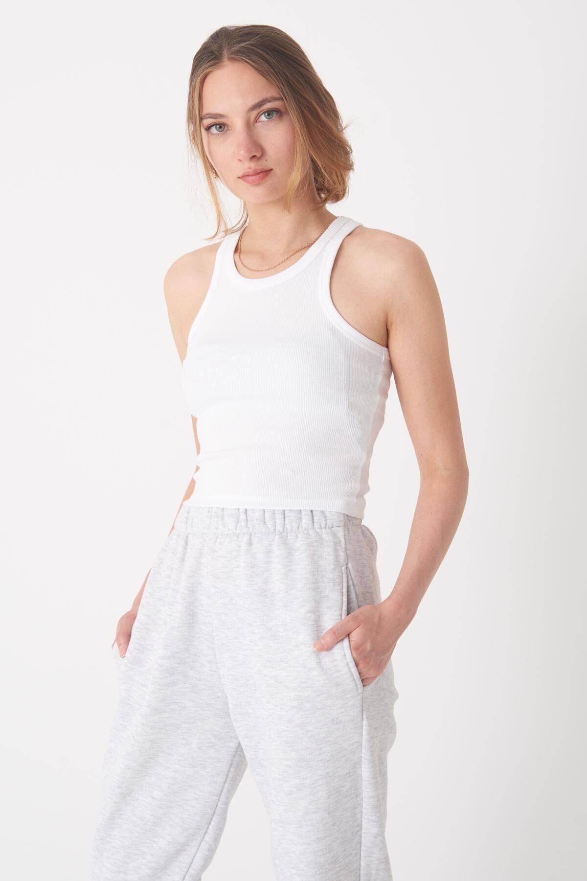 Addax Kadın Beyaz Fitilli Kısa Atlet A0942 - X2 Adx-0000022303 4
