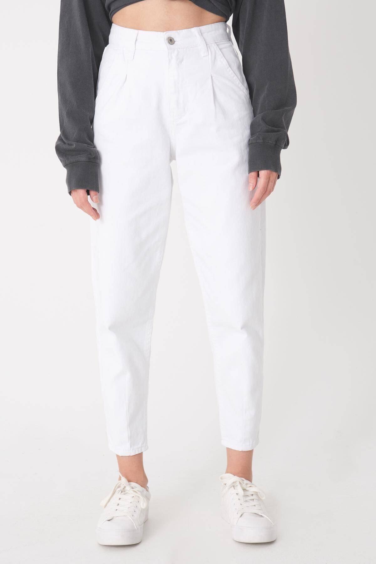 Addax Kadın Beyaz Cep Detaylı Pantolon Pn6895 - Pnh Adx-0000023130 0