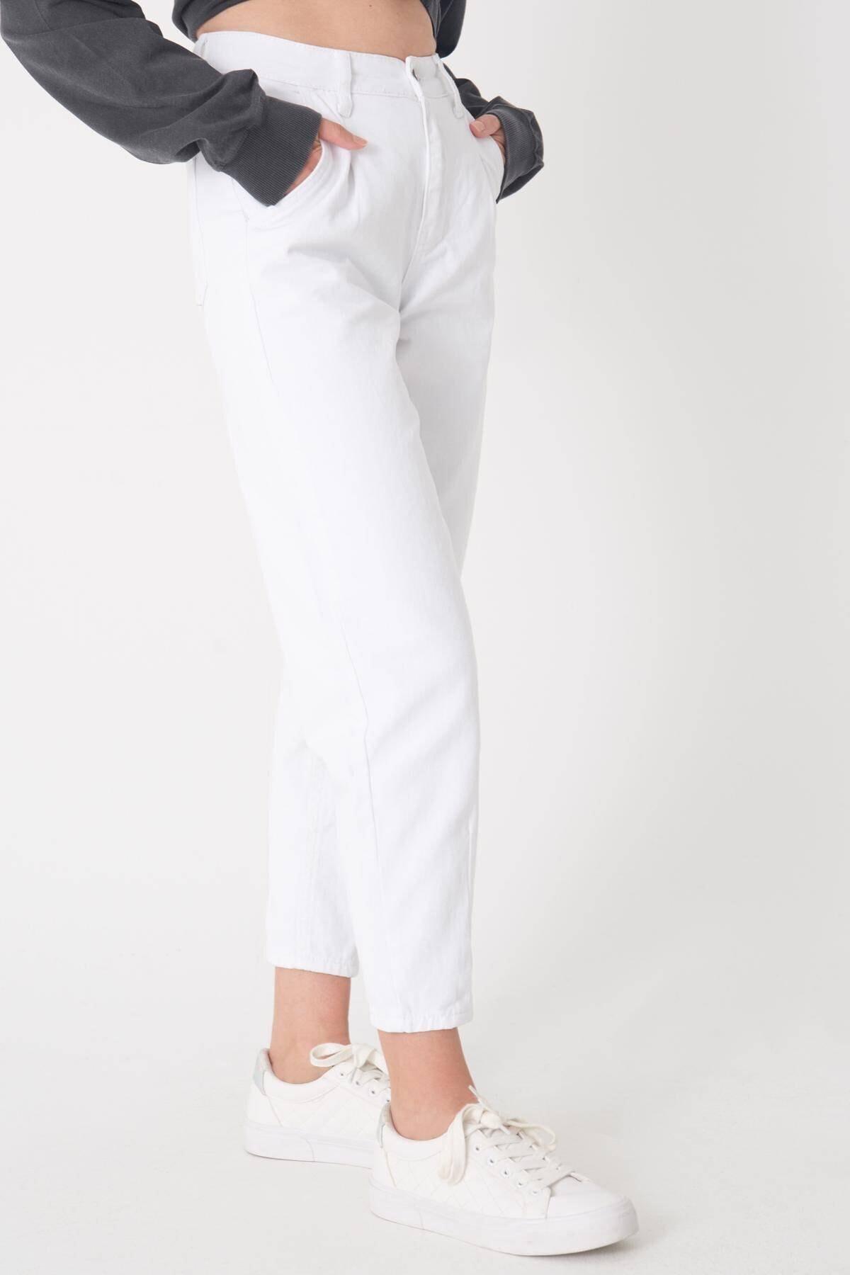 Addax Kadın Beyaz Cep Detaylı Pantolon Pn6895 - Pnh Adx-0000023130 2
