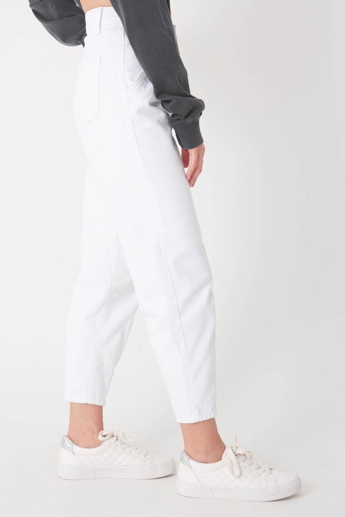 Addax Kadın Beyaz Cep Detaylı Pantolon Pn6895 - Pnh Adx-0000023130 4