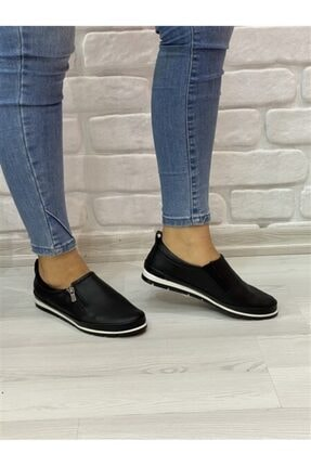 RİKEL DERİ Kadın Siyah Hakiki Deri Günlük Ayakkabı 2