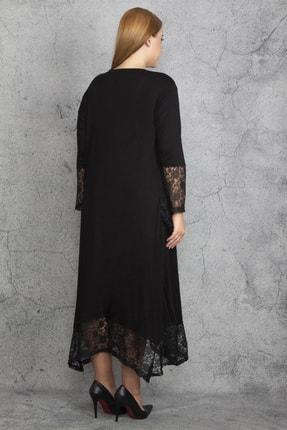 Şans Kadın Siyah Dantel Detaylı Viskon Uzun Kollu Elbise 65N18911 1