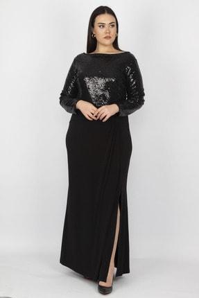 Şans Kadın Siyah Üst Kısmı Payet Yırtmaçlı Elbise 65N18754 1