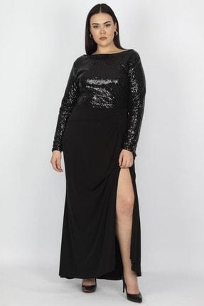 Şans Kadın Siyah Üst Kısmı Payet Yırtmaçlı Elbise 65N18754 2