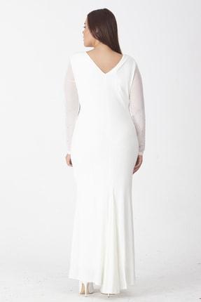 Şans Kadın Kemik Taş İşli Abiye Elbise 65N18748 1