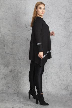 Şans Kadın Siyah Ribana Detaylı Tunik 65N18830 2