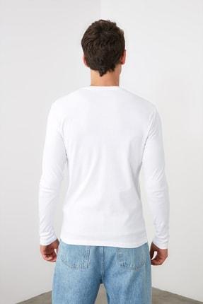 TRENDYOL MAN Beyaz Erkek Slim Fit Bisiklet Yaka Uzun Kollu Basic T-Shirt TMNAW20TS0199 4