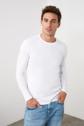 TRENDYOL MAN Beyaz Erkek Slim Fit Bisiklet Yaka Uzun Kollu Basic T-Shirt TMNAW20TS0199 0