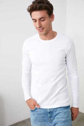 TRENDYOL MAN Beyaz Erkek Slim Fit Bisiklet Yaka Uzun Kollu Basic T-Shirt TMNAW20TS0199 3