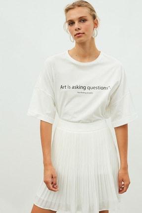 İpekyol Kadın Beyaz Slogan Baskılı Tişört 2