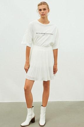 İpekyol Kadın Beyaz Slogan Baskılı Tişört 3