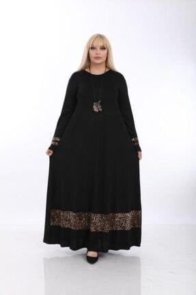 Şirin Butik Kadın Siyah Büyük Beden Leopar Detaylı Viskon Elbise 0