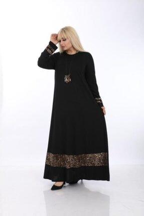 Şirin Butik Kadın Siyah Büyük Beden Leopar Detaylı Viskon Elbise 2