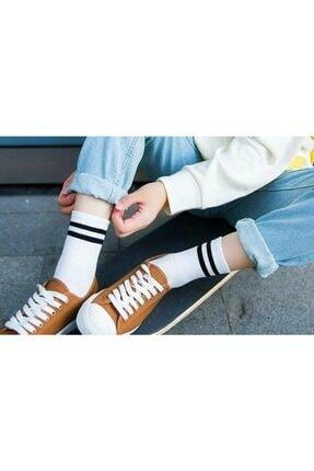 çorapmanya 8' Li Erkek Kolej Çok Renkli Çizgili Tenis Çorabı 2