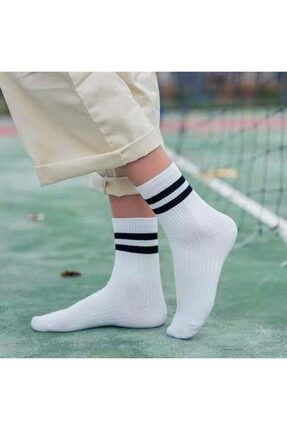 çorapmanya 8' Li Erkek Kolej Çok Renkli Çizgili Tenis Çorabı 4