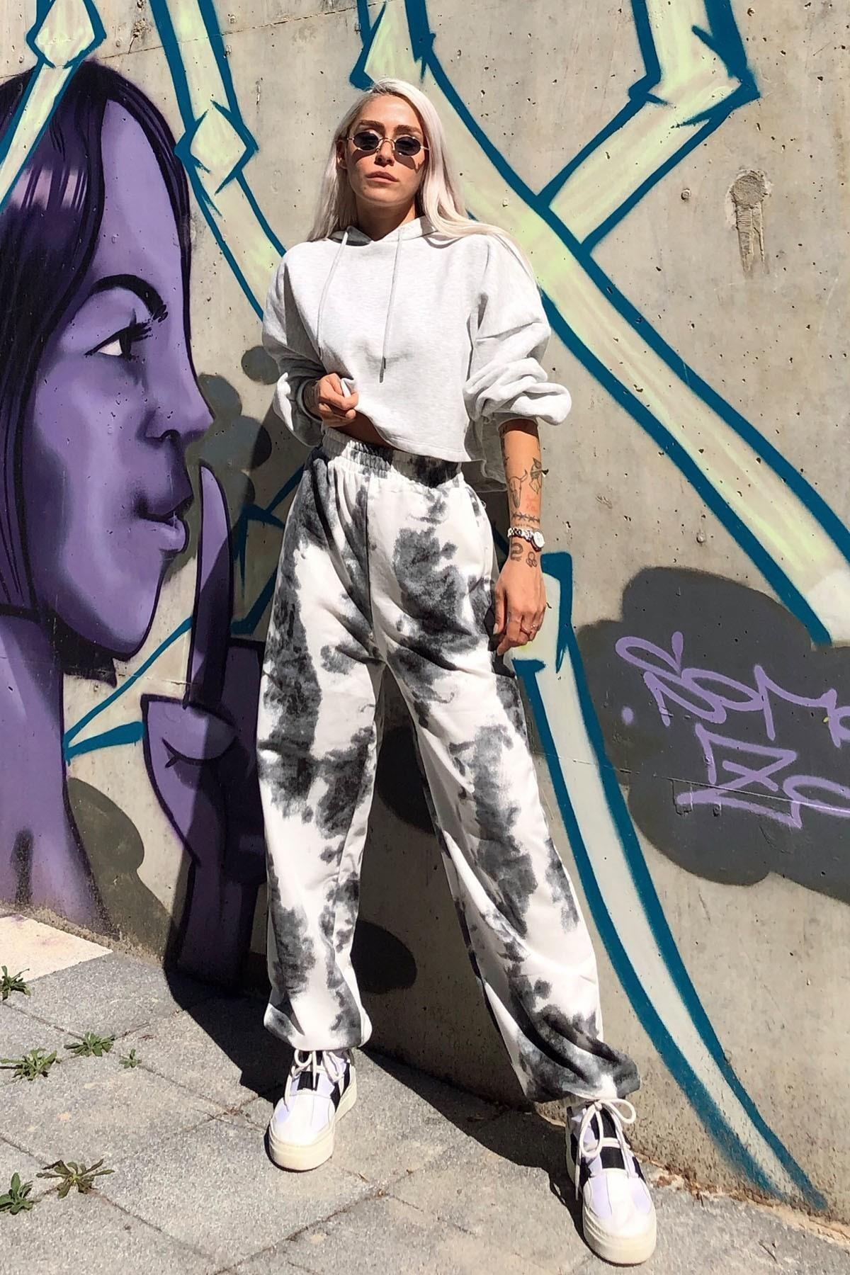 SwistLuxury Batik Desenli Yüksek  Bel Eşofman Siyah 0