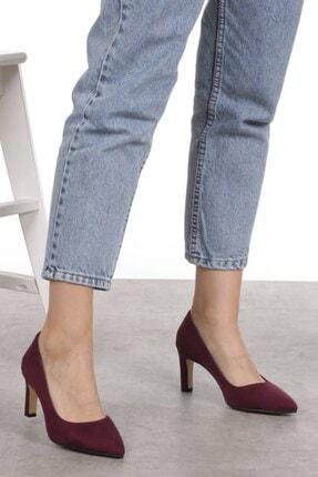 Mio Gusto Lita Bordo Süet Topuklu Ayakkabı 4