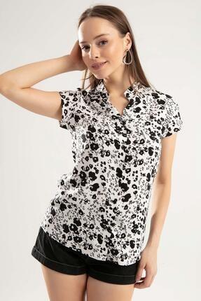 Pattaya Kadın Beyaz Siyah Baskılı Hakim Yaka Kısa Kollu Gömlek PTTY20S-386 1