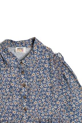Koton Kız Çocuk Mavi Düğme Detayli Elbise 2