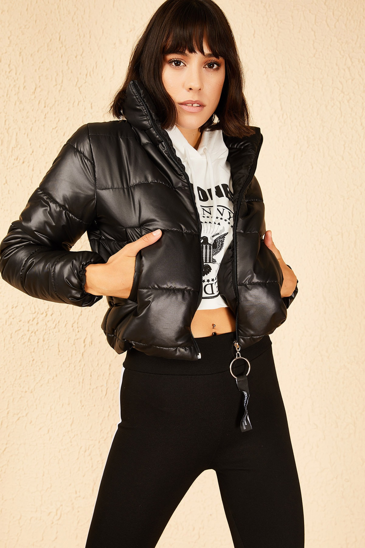 Bianco Lucci Kadın Siyah Hakim Yaka Şişme Mont 10151032 1