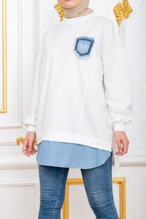 Şule Giyim Kadın Beyaz Kot Cepli Altı Kot Detaylı Sweat 2