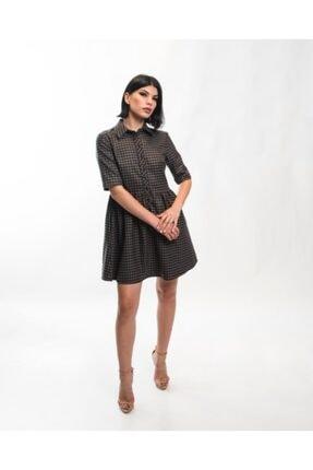 EPATAGE Kadın Bej Ekoseli Elbise 1