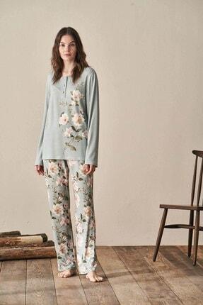 Lohusa Sepeti Kadın Yeşil Igone Lohusa Pijama Takımı 3944 3