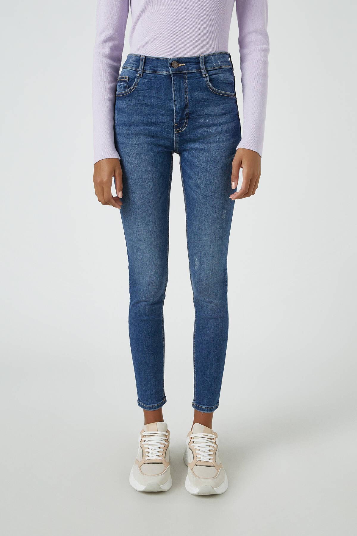 Pull & Bear Kadın Koyu Mavi Orta Bel Skinny Fit Jean 05682320 2