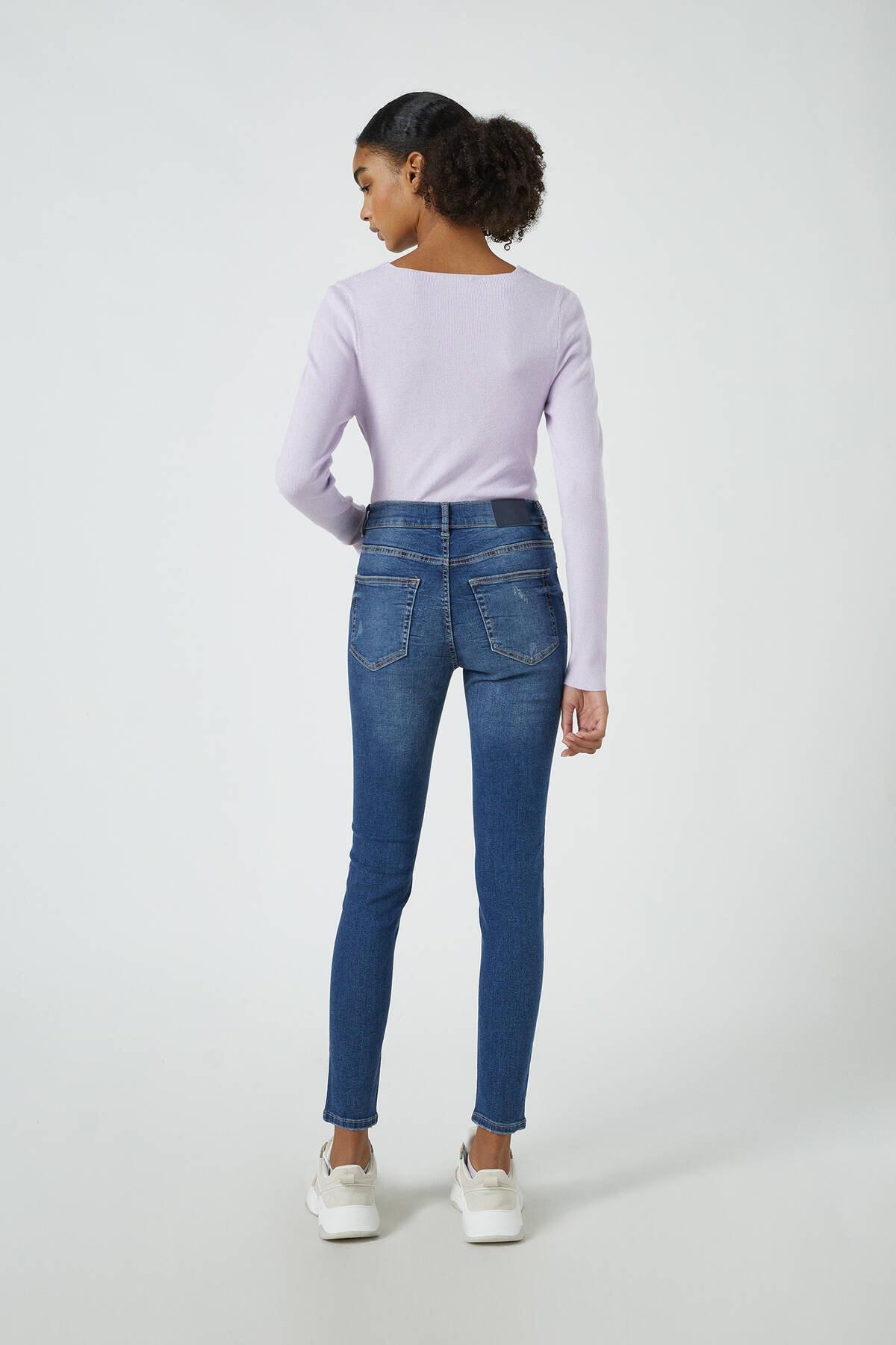 Pull & Bear Kadın Koyu Mavi Orta Bel Skinny Fit Jean 05682320 3
