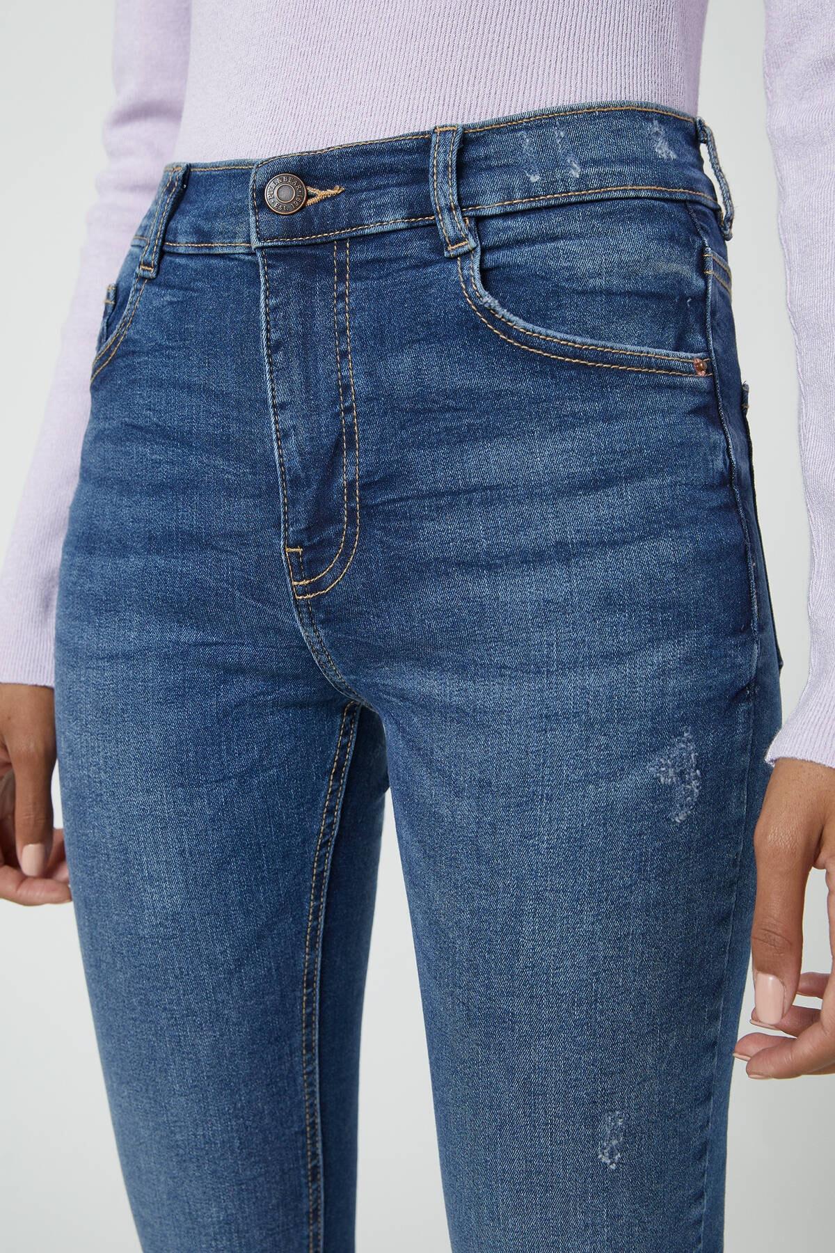 Pull & Bear Kadın Koyu Mavi Orta Bel Skinny Fit Jean 05682320 4