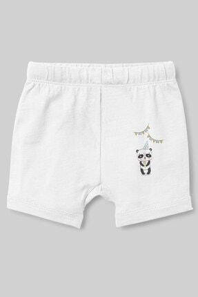 Angemiel Erkek Bebek Beyaz Baby Partideki Panda  Şort 0