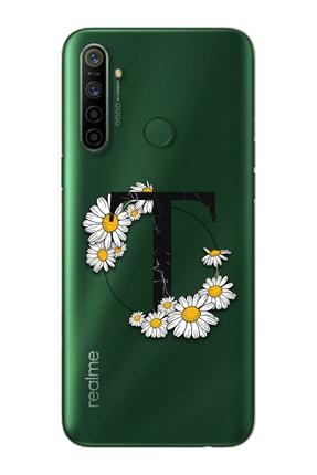 Spoyi Papatya Harf Tasarım Süper Şeffaf Silikon Telefon Kılıfı Oppo Realmi 5i T-harfi 0