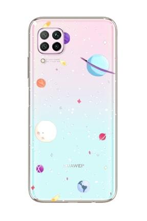 Spoyi Gezegenler Tasarımlı Süper Şeffaf Silikon Telefon Kılıfı Huawei P40 Lite 0