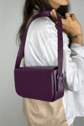 LinaConcept Kadın Mor Kapaklı Baget Çanta 3