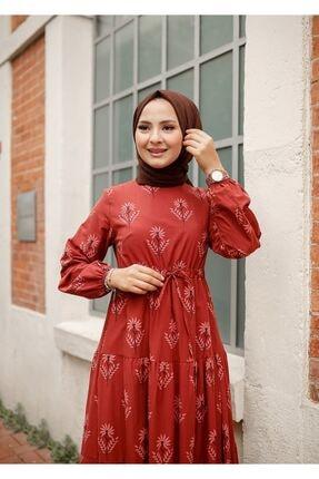 ELBİCA Kadın Kiremit Beli Büzgülü Desenli Elbise 5424 3