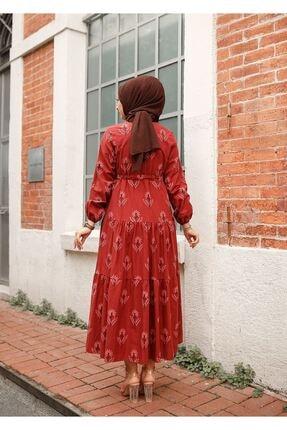 ELBİCA Kadın Kiremit Beli Büzgülü Desenli Elbise 5424 4