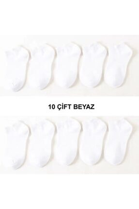 تصویر از 10 Çift Modal Dikişsiz Beyaz Kadın Patik Çorap Bilek Boy