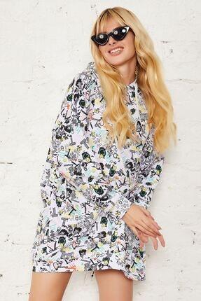 Mispacoz Kadın Siyah Desenli Kapüşonlu Tunik Elbise 1