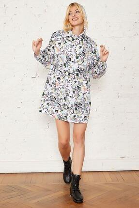 Mispacoz Kadın Siyah Desenli Kapüşonlu Tunik Elbise 2