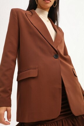 Quzu Kadın Koyu Kahve Tek Düğmeli Blazer Ceket 3