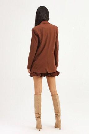 Quzu Kadın Koyu Kahve Tek Düğmeli Blazer Ceket 4