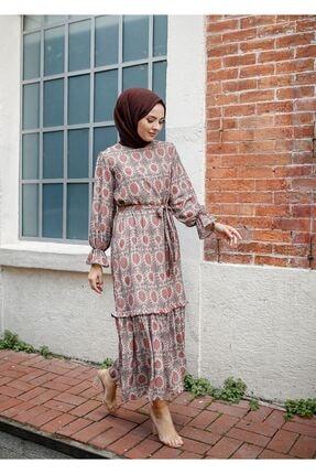 ELBİCA Kadın Bej Kolları Büzgülü Beli Kuşaklı Desenli Elbise 5415 0