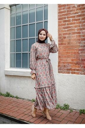 ELBİCA Kadın Bej Kolları Büzgülü Beli Kuşaklı Desenli Elbise 5415 1