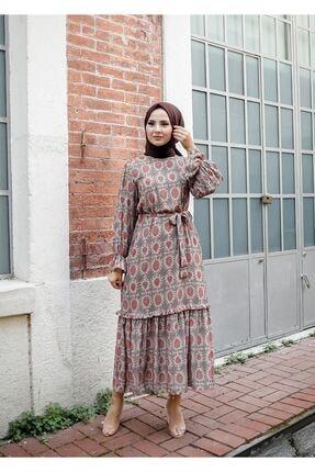 ELBİCA Kadın Bej Kolları Büzgülü Beli Kuşaklı Desenli Elbise 5415 2