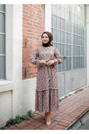 ELBİCA Kadın Bej Kolları Büzgülü Beli Kuşaklı Desenli Elbise 5415 3