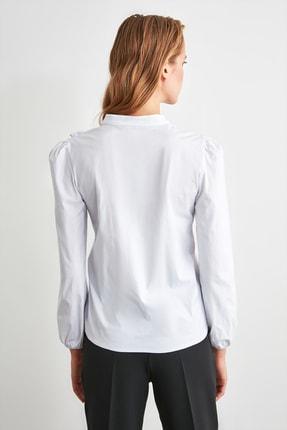 TRENDYOLMİLLA Beyaz İşleme Detaylı Gömlek TWOSS20GO0044 4