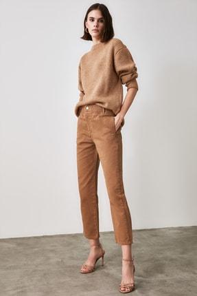 TRENDYOLMİLLA Camel Beli Lastikli Yüksek Bel Straight Jeans TWOAW21JE0377 0