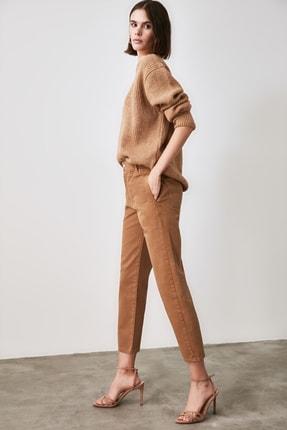 TRENDYOLMİLLA Camel Beli Lastikli Yüksek Bel Straight Jeans TWOAW21JE0377 1