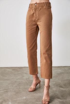 TRENDYOLMİLLA Camel Beli Lastikli Yüksek Bel Straight Jeans TWOAW21JE0377 2