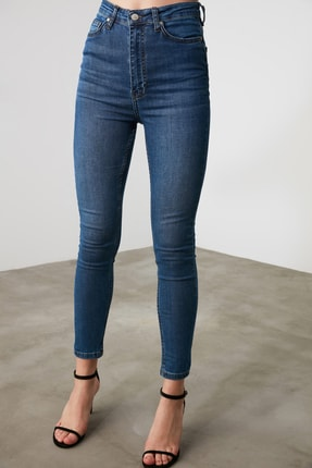 TRENDYOLMİLLA Mavi Yüksek Bel Skinny Jeans TWOAW21JE0513 4